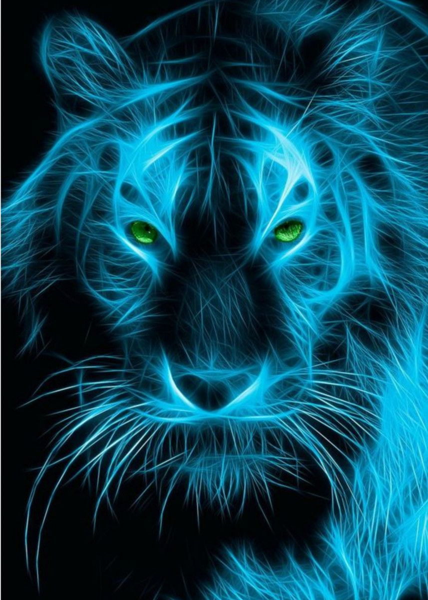 Blue Tigeran Illustration Of Fire Blue Tiger In 2020 Tiger Pictures Tiger Art Lion Art
