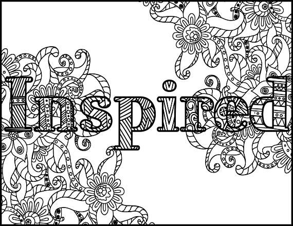 Inspired Adult Coloring Page Positive Coloring Page