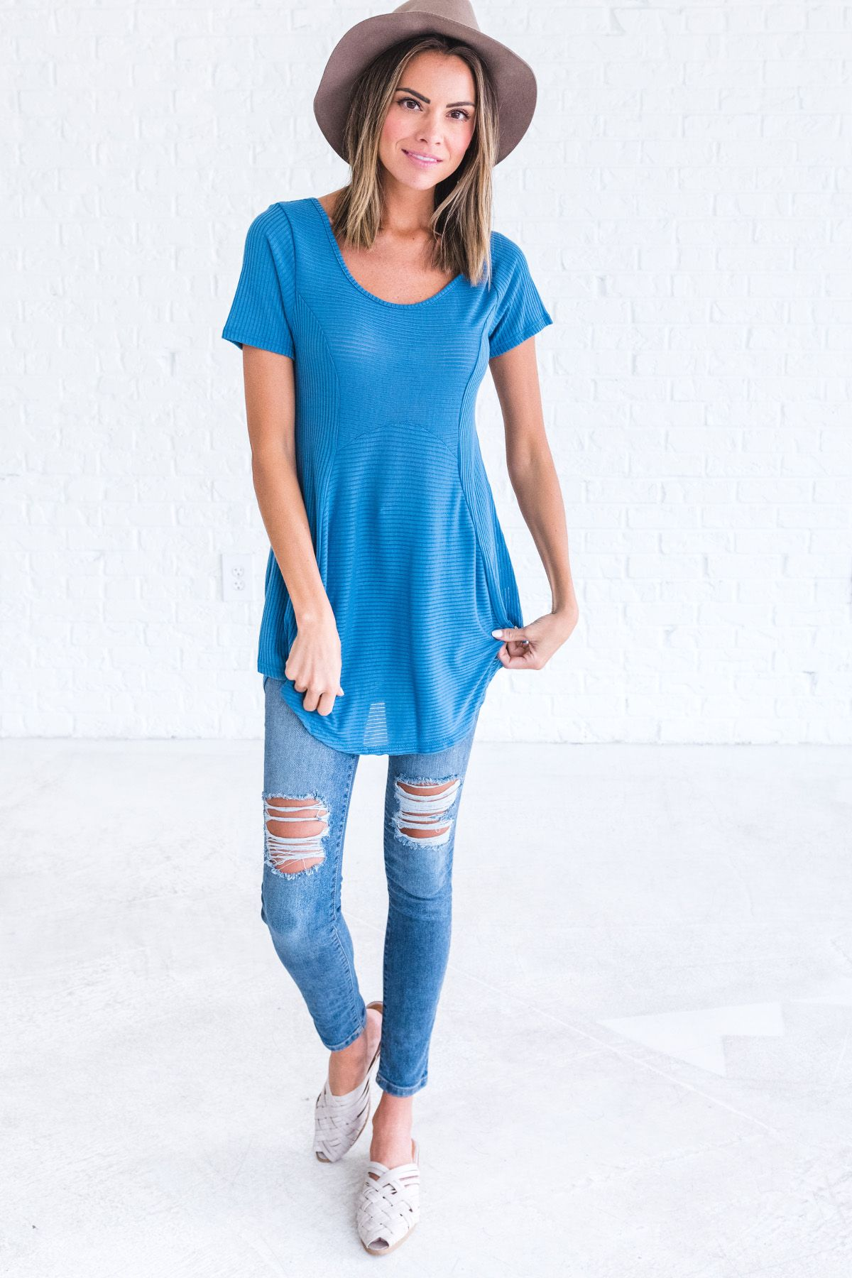Find Yourself Blue Ribbed Top - Bella Ella Boutique Online  2be01166e901
