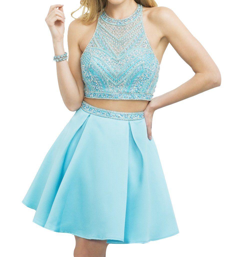 Brl mall womenus pretty jewel neck two pieces short prom dresses