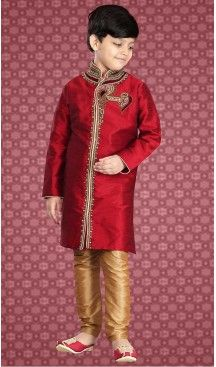 89e12f540800f Red Color Art Silk Readymade Boys Kurta Pajama Set | FH508677484 ...