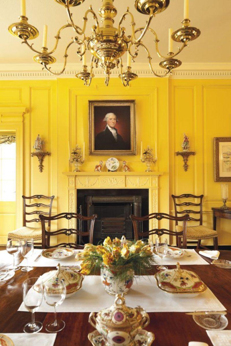 Yellow - Rockefeller home   Ideas for dining room decor   Pinterest ...