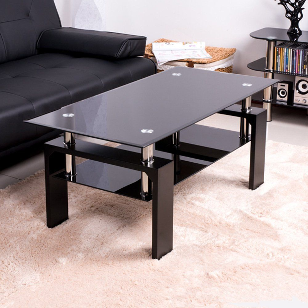 BTM New Tempered Glass Coffee Table Style Furniture Modern Glass Tabletops  With Black Wood Legs (