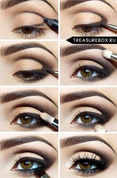 макияж для зеленых глаз вечерний пошаговое фото
