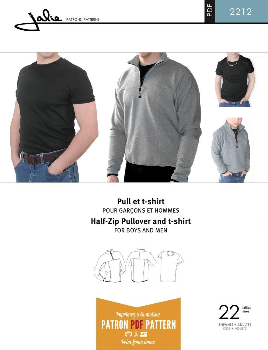 Jalie 2212 - Half-Zip Pullover and T-Shirt PDF Pattern for Boys and ...