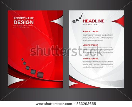red annual report design vector illustration cover template