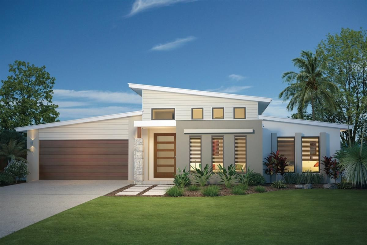 Gj gardner home designs silkwood 230 facade option 1 for Australian beach house designs