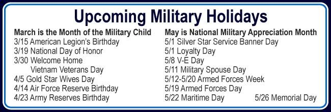 Military holidays