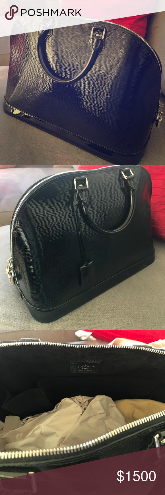 Louis Vuitton electric Alma Epi GM Noir Black Almost New. Worn twice.  Authentic LV d225321e2ac2d