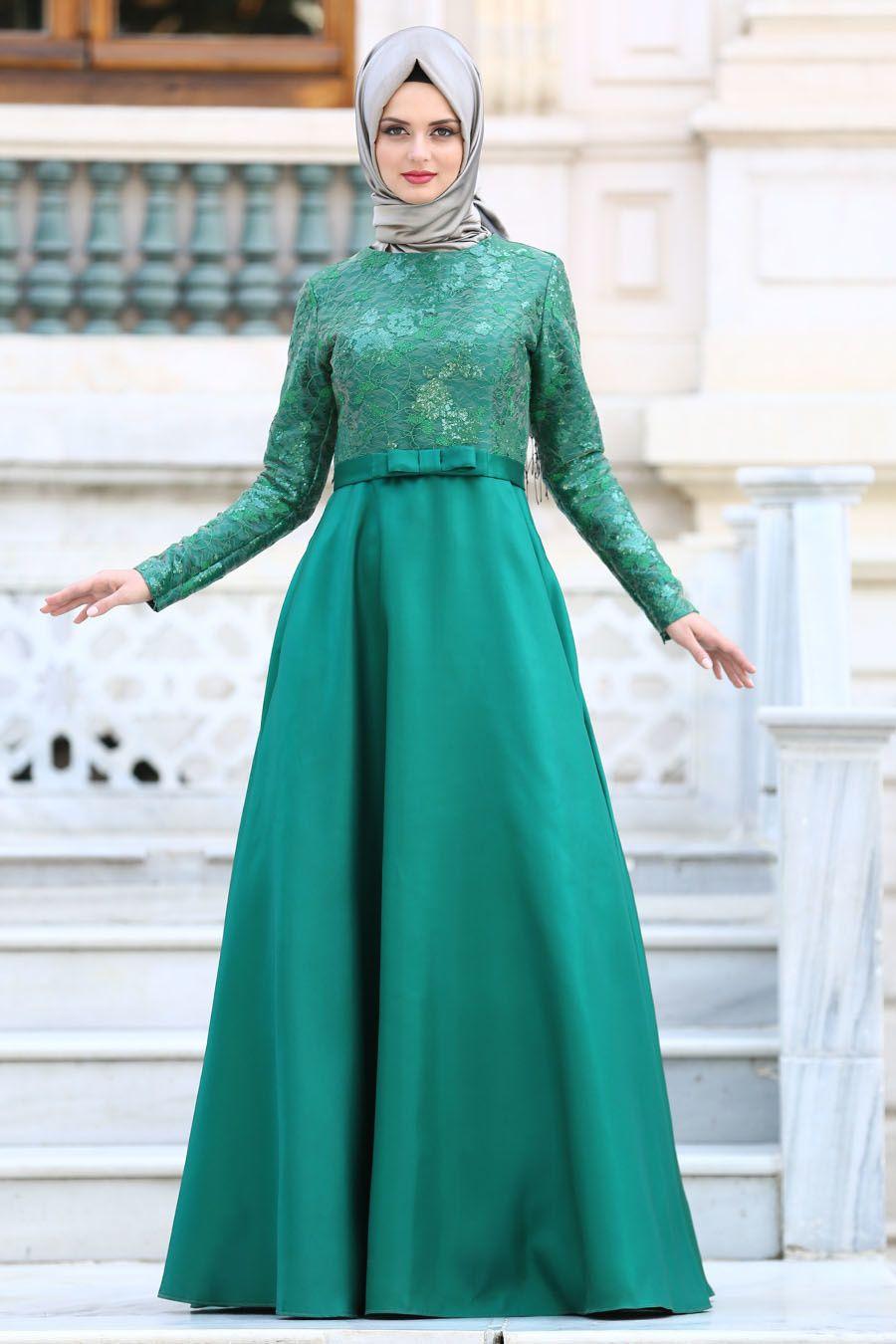 Tuay Mikado Saten Yesil Tesettur Abiye Elbise 2372y Tesetturisland Com 2020 Aksamustu Giysileri Elbise The Dress