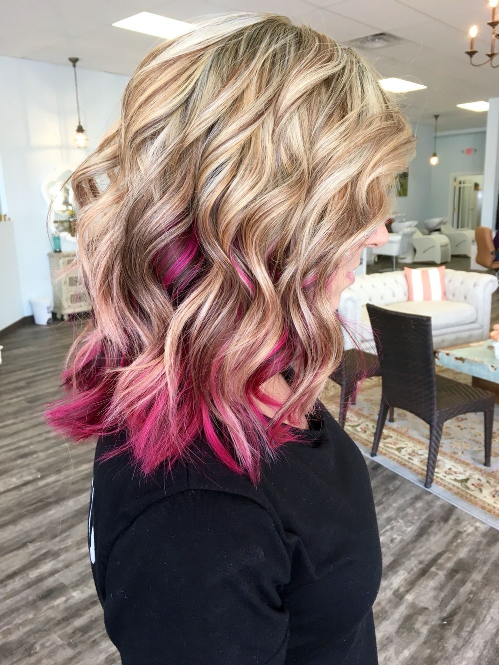 Blonde With Magenta Done By Allydestout Pink Blonde Hair Magenta Hair Pink Hair Highlights