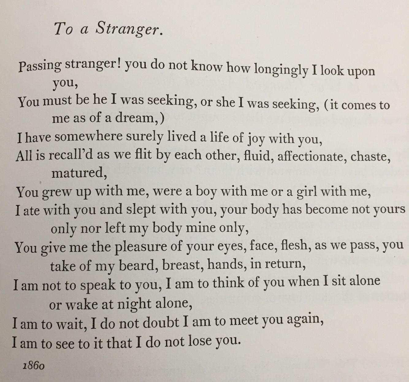 To A Stranger Walt Whitman Poem Quote Poems I Celebrate Myself And Sing Analysis Analysi