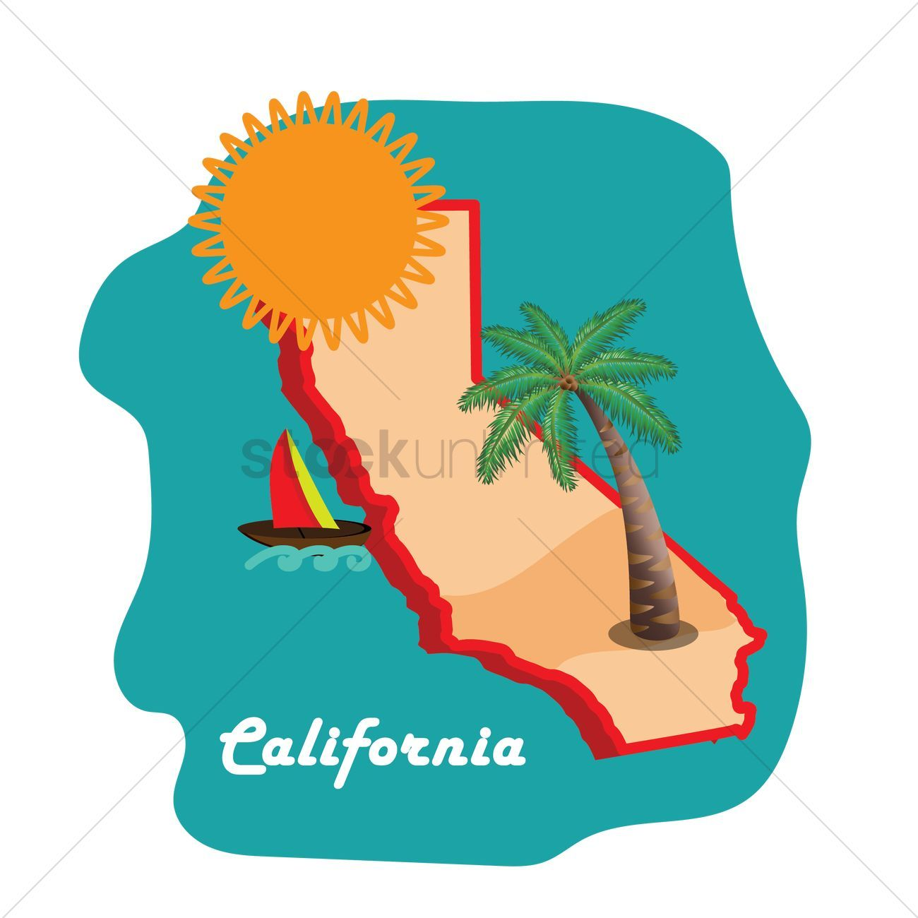 California State Map With Long Beach Vector Illustration Ad