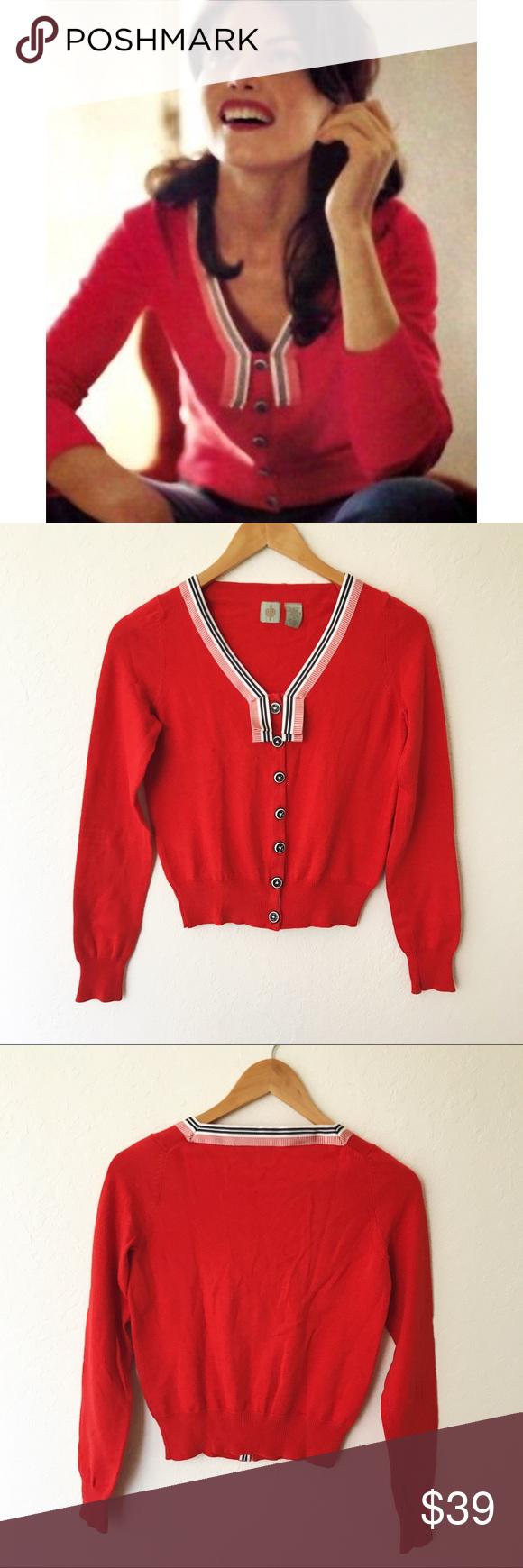 Anthropologie HWR Red Nautical Cardigan Sweater | Nautical ...