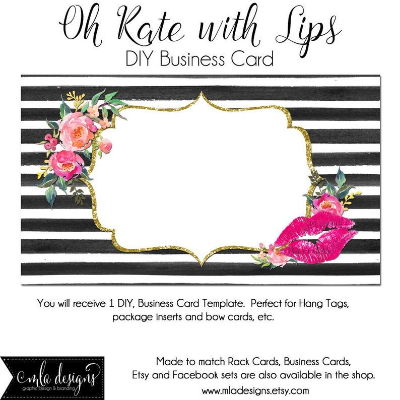Dyi Blank Business Card Template Oh Kate With Lips Made To Match Etsy Sets And Facebook Covers Business Card Template Lips Lipgloss Blank Business Cards Business Card Template Card Template