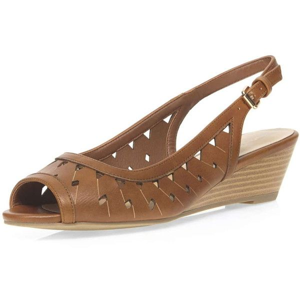 83a16e2bb50 Dorothy Perkins Tan  Violet  Laser Cut Wedges (£23) ❤ liked on Polyvore  featuring shoes