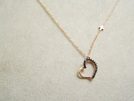 Heart necklace - black zirconium heart pendant on pink gold delicate chain by Akatos