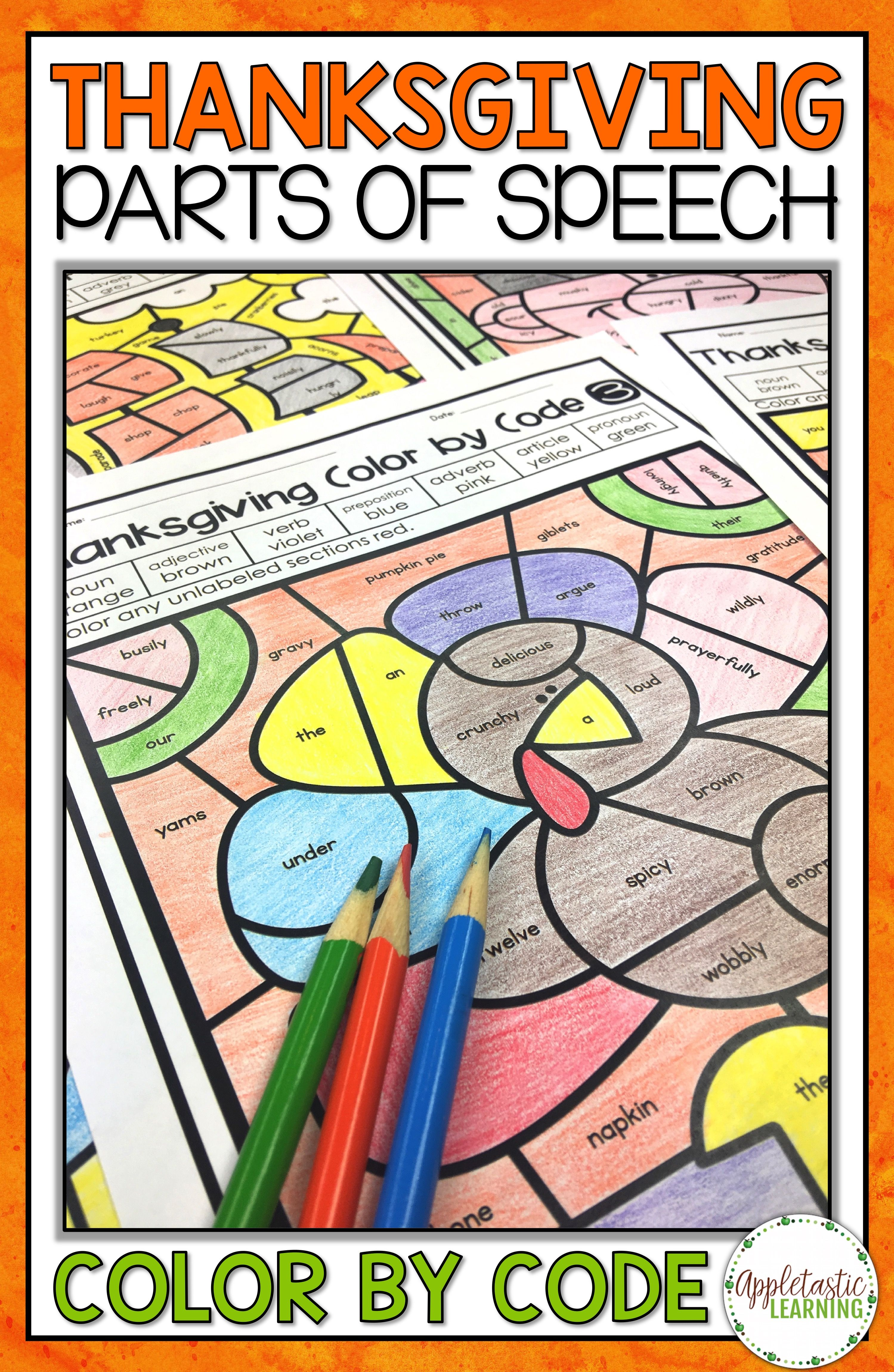 Thanksgiving Coloring Pages Parts Of Speech Color By