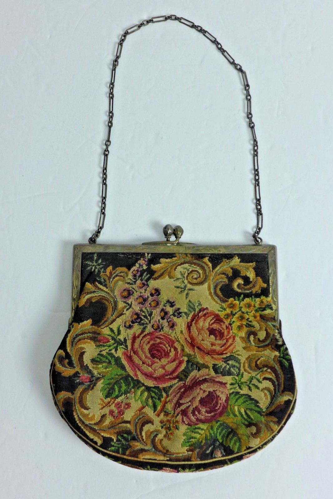 ad9dd844fcf1 Antique Petit Point Needlework Tapestry Small Evening Bag Floral | eBay