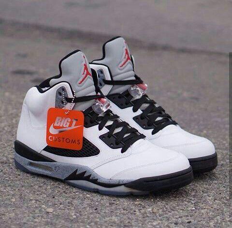 best website 64496 0958c ... the Air Jordan (Retro) 5 Cement Customised Shoes, Custom ...