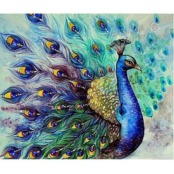 Diamond Painting Full Drill Diamond Picture Peacock Wall Deco Diy Diamond Mosaic Picture Rhinestone Peacock Painting Cross Paintings Peacock Art