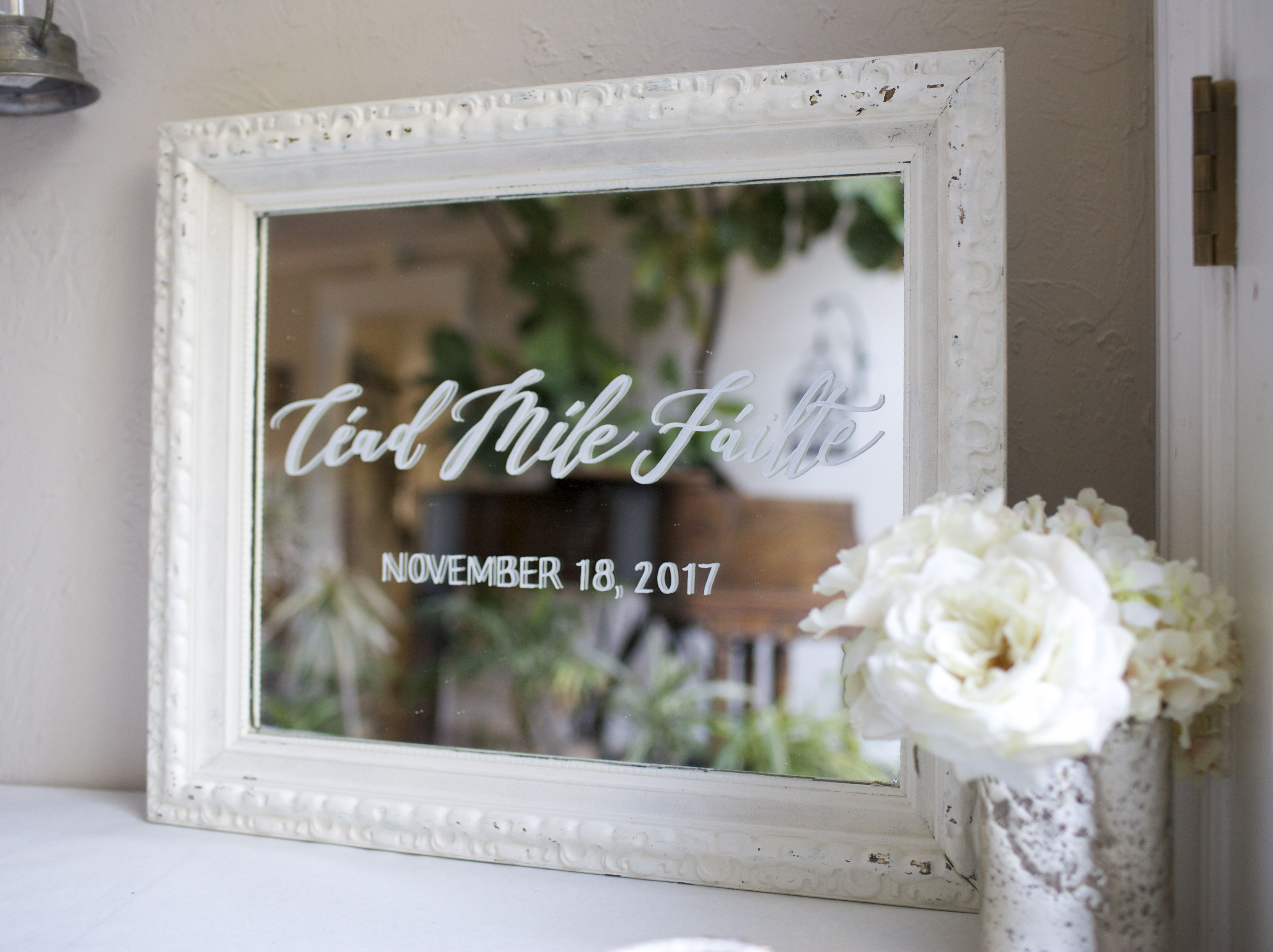Irish wedding sign, hand painted on vintage shabby