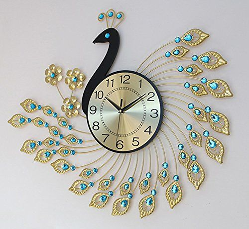 Yournelo 3d Diamonds Peacock Wall Clock Decorative Silent
