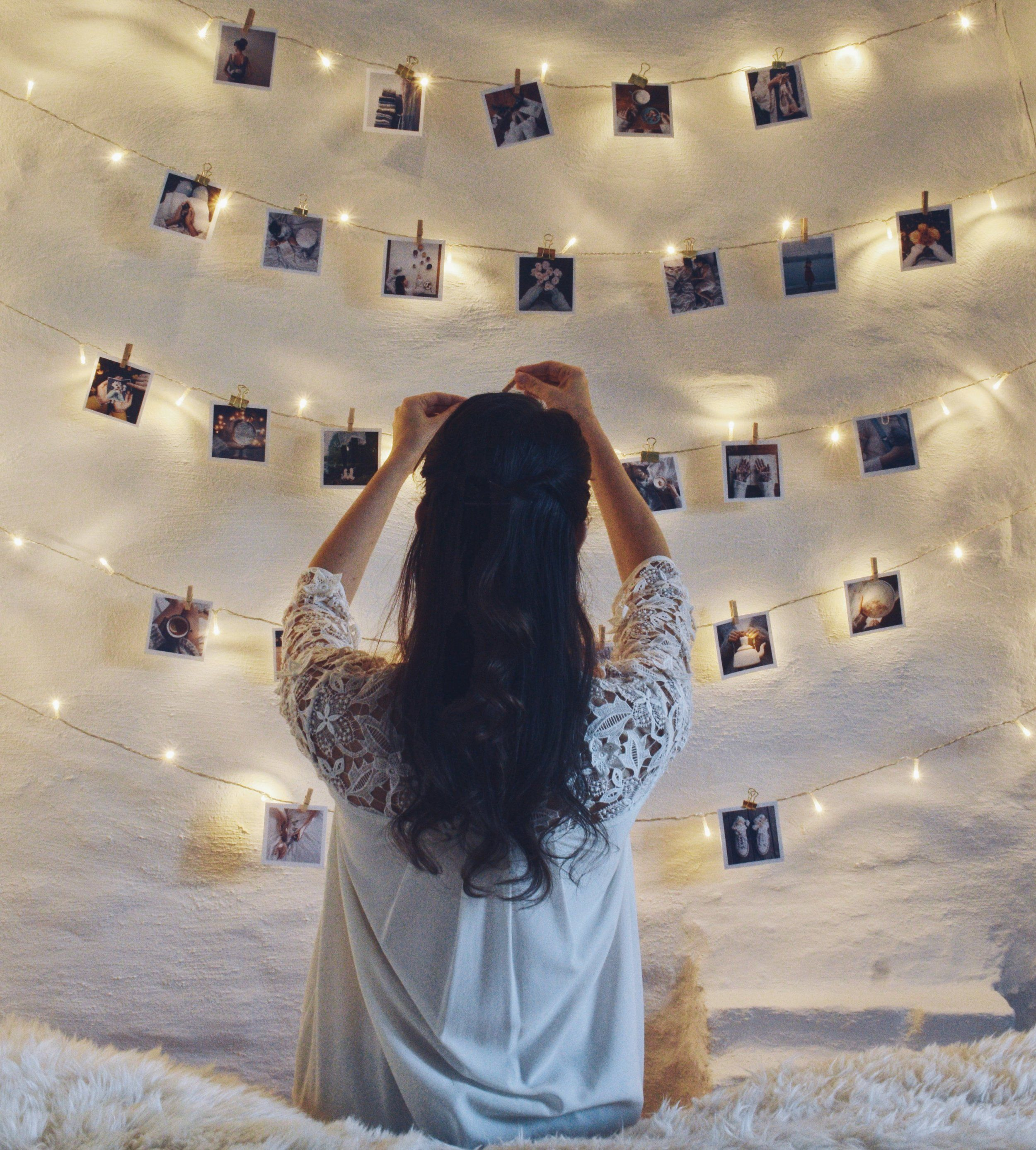 Fairylights And Polaroids On A White Wall Polaroid Wall Decor Polaroid Wall Tumblr Room Decor