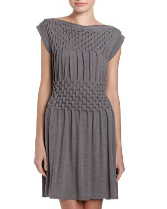 "Basket-Weave Dress      Stretch basket-weave knit.     Zip-trim bateau neckline.     Banded cap sleeves.     Fit-and-flare silhouette.     Pullover style.     Approx. 37""L.     Polyester/rayon/spandex."