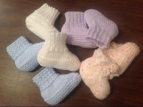 Easy Baby Booties Knitting Youtube Knitting Baby Sokjes