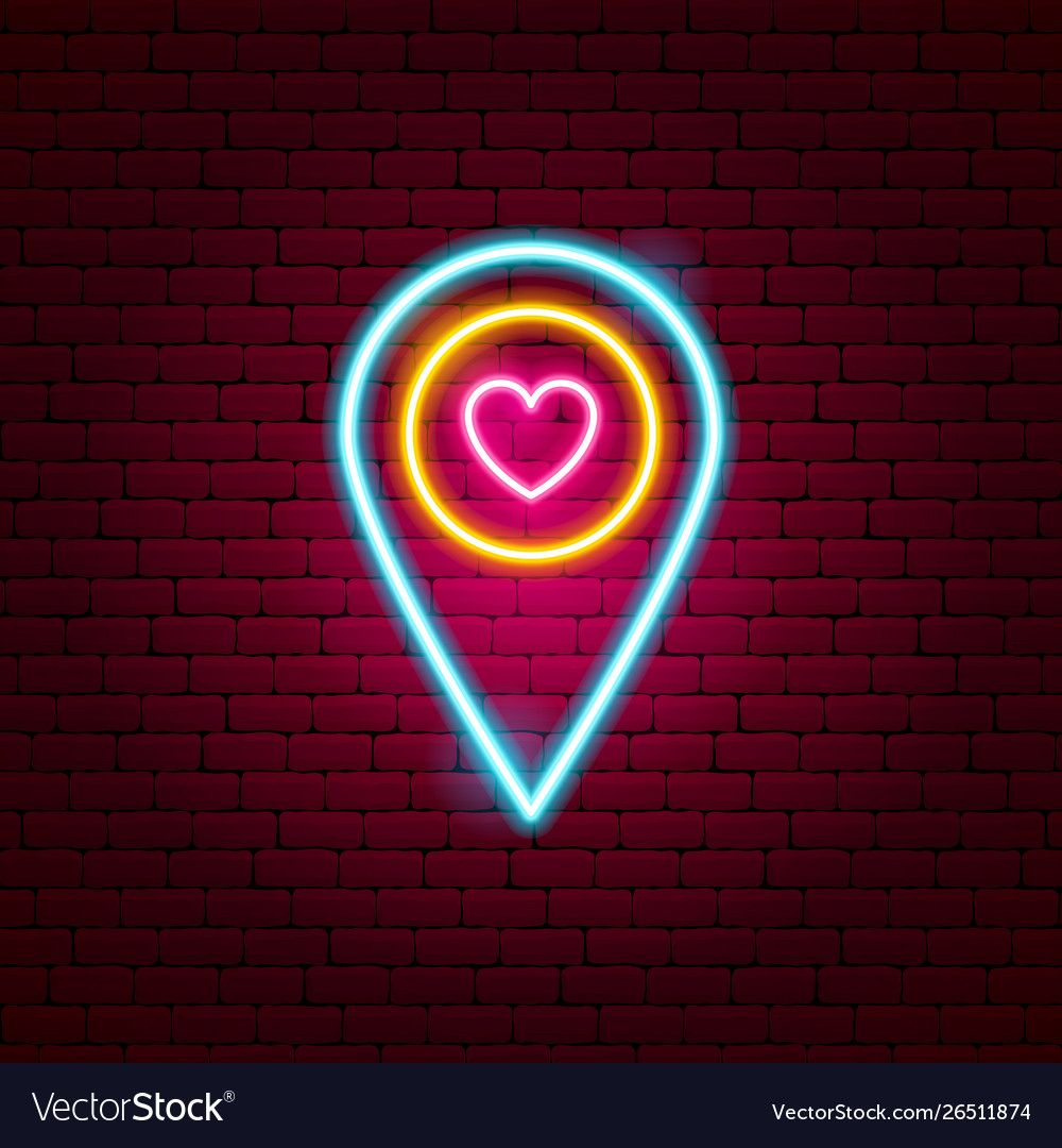Love map pin neon sign vector image on Novidades