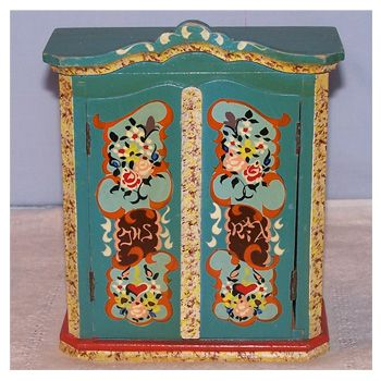 Vintage Doll Furniture  German Hand Painted Wardrobe  1940u0027s Wooden