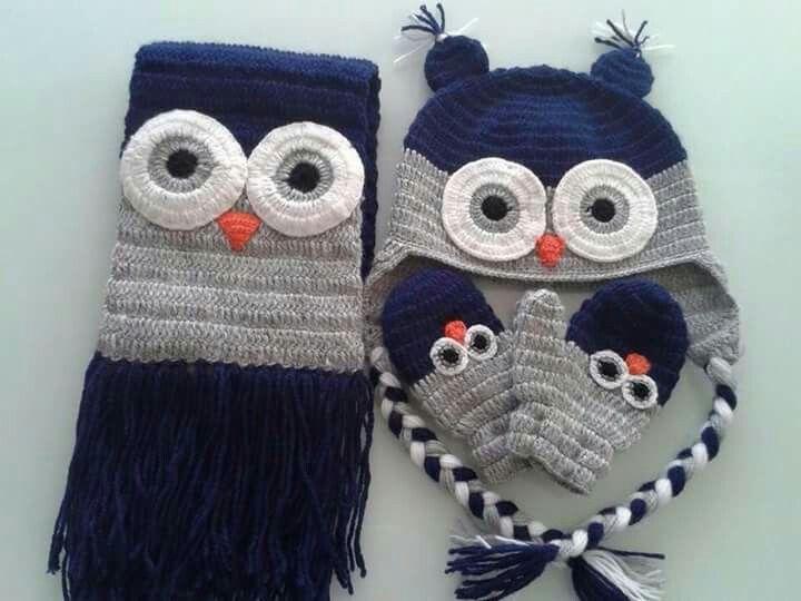 Conjunto | gorro tejido a dos agujas y crochet | Pinterest ...