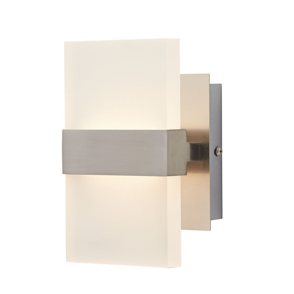 2 Light Brushed Nickel Wall Sconce Bright Clean Light No Yellow