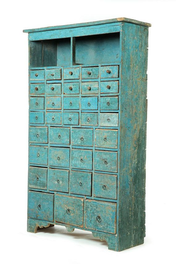 Vintage Style Wood Cabinet With Small Drawers. Reproduction Wood Cabinet,  Small Drawer Cabinet,