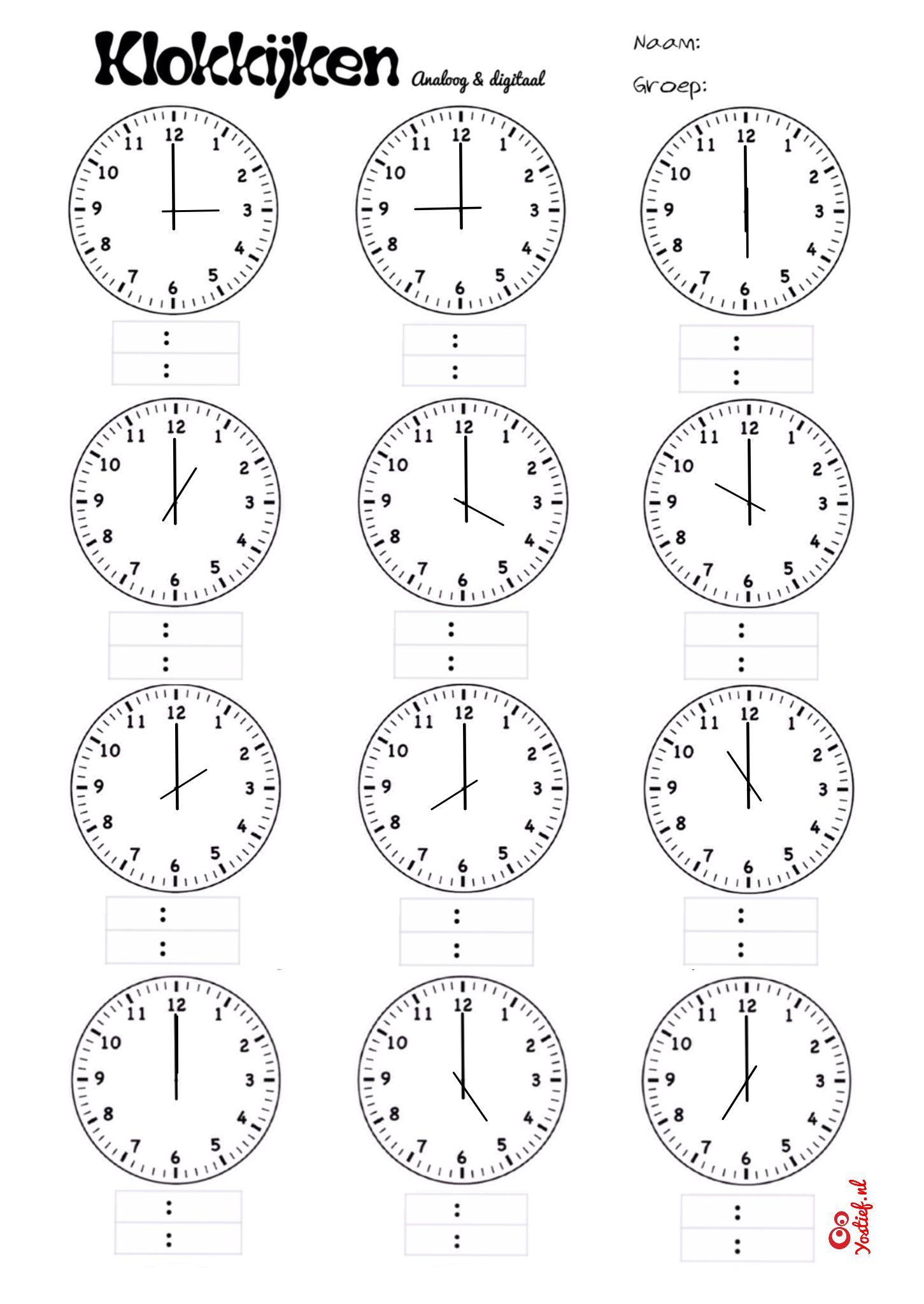 Hedendaags Klokkijken groep 4. Analoog en digitaal. Hele uren. #Doodle (met JW-17
