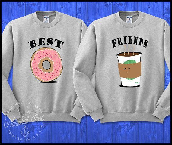 6b6b590ebb38c Parejas de mejores amigos café Donut cuello redondo camiseta ...