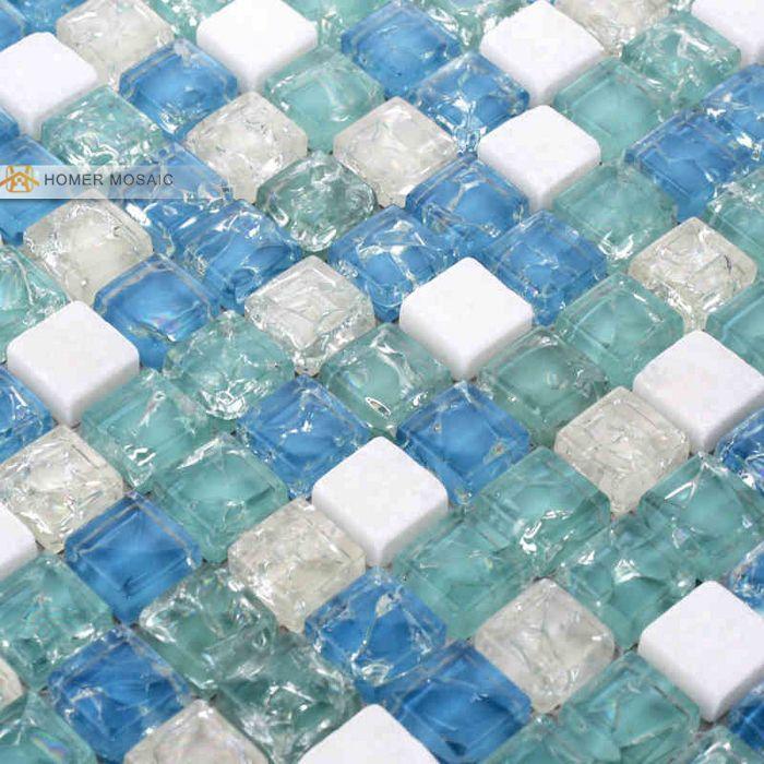 Mediterranean Blue Glass Mixed Stone Tile 12x12 Wall Mosaic Tile Bathroom Tiles Backsplash Mosaic Tile Free Mosaic Bathroom Tile Blue Tile Wall Sea Glass Tile