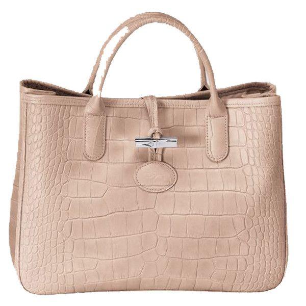 Longchamp Roseau Croco Tote Bag- Powder Monogramming Available ...