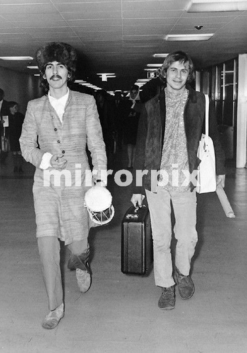 January 1968 George Harrison And Alexis Mardis Aka Magic Alex At London Heathrow Airport Returning To From Bombay India Where Had Worked
