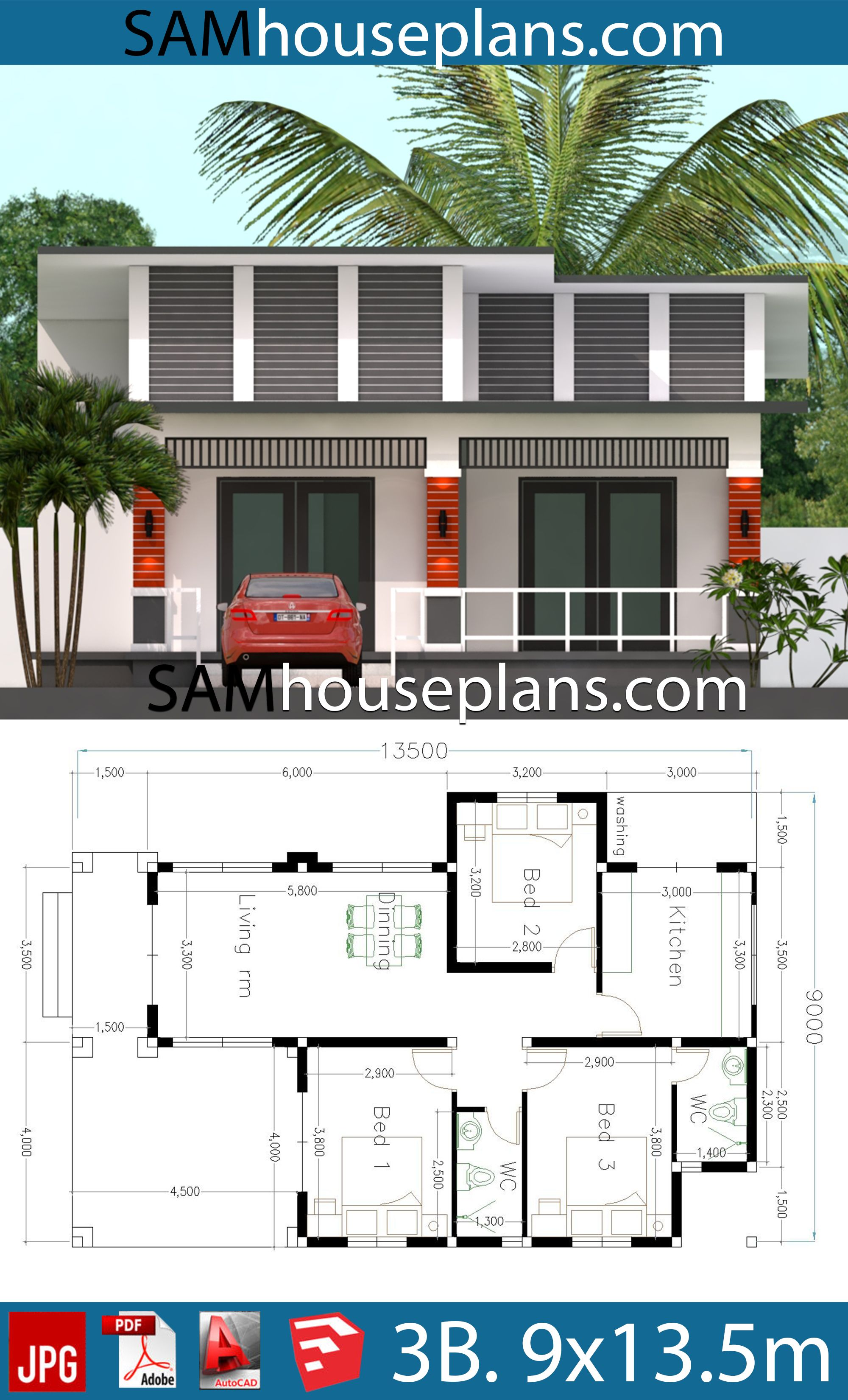 House Plans 9x13 5 With 3 Bedrooms House Plans Free Downloads House Plans Bedroom House Plans Fantasy House