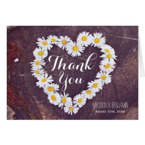 Daisy Heart Rustic Wood Wedding Thank You Card