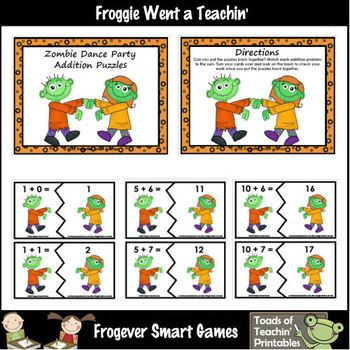 Here's a zombie themed set of puzzles for working on addition facts with sums to 20.