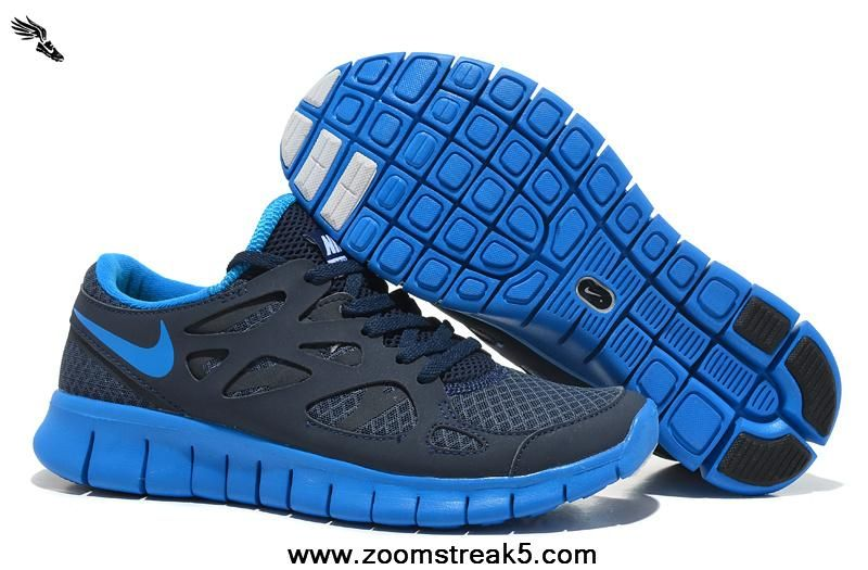 2013 540244-444 Nike Free Run 2 Mens NSW Thunder Blue Photo Blue Obsidian White 2013 Free Shoes