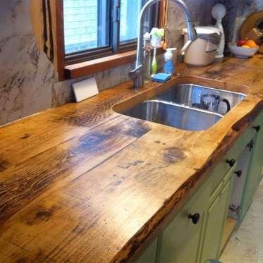 Ce N Est Pas Si Complique Et Le Resultat Est Etonnant Ca Prend Seulement Quelques Planches De Bois Photo Pinterest Wooden Countertops Kitchen