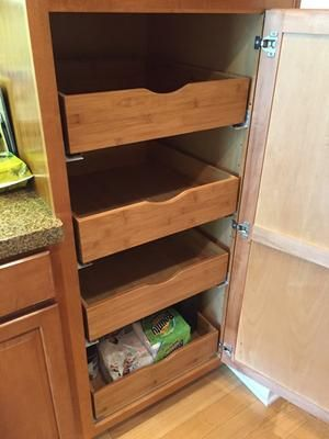 Bamboo Pull Out Cabinet Drawers Nice For A Pantry Or Under