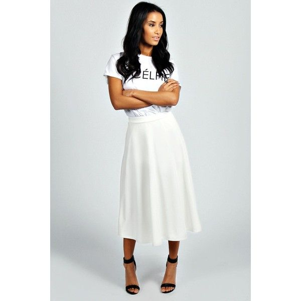 Boohoo Arianna Plain Full Circle Midi Skirt ($20) ❤ liked on Polyvore featuring skirts, ivory, white skater skirt, skater skirt, midi circle skirt, winter white skirt and midi skater skirt