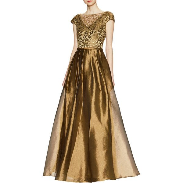 Theia Women's Lace Bodice with Metallic Woven Skirt Gown - Gold - Size... (1,585 PEN) ❤ liked on Polyvore featuring dresses, gowns, gold, brown dress, gold dress, gold metallic dress, lace gown and gold lace dress