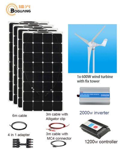 400w Solar Wind Hybrid Solar System Kit 4x 100w Solar Panel 600w Wind Turbine Solar System Kit Solar Panels Solar Power System