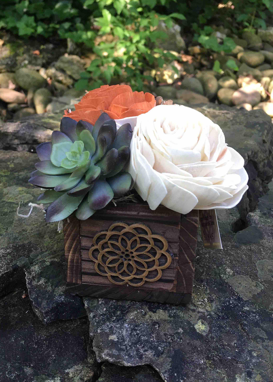 Sola Wood Flowers And Artificial Succulent Small Arrangement Green Orange White Wooden Box Flower Arrangements Pinterest